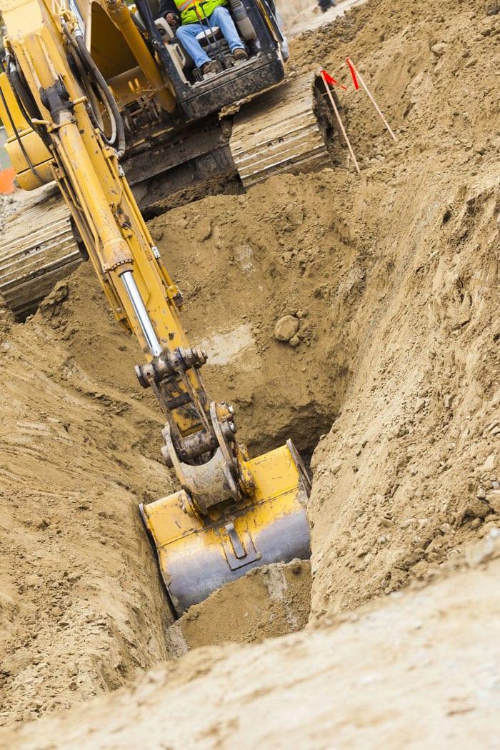excavator tractor digging tra